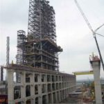 Construção Estrutura metálica Prédio de Reatores com 110m de Altura – REDUC – Petrobras