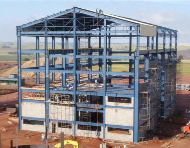 Construção Estrutura metálica  Indústria Sucroalcooleira Prédio de Caldeira, Moenda e Outros - Usina Alto Alegre